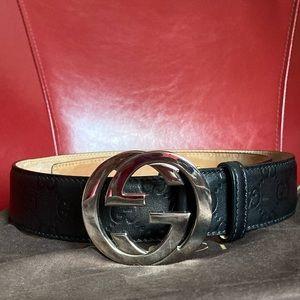 Gucci Belt Silver Buckle w/ dust bag